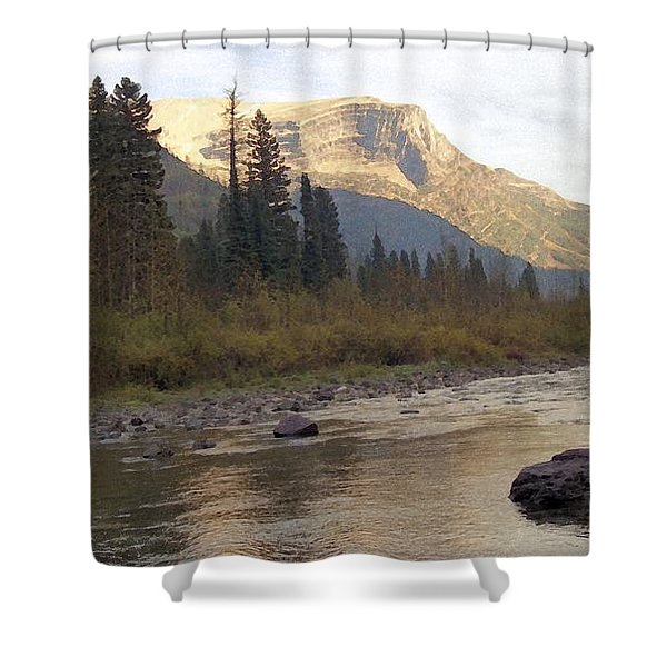 Flathead River Shower Curtain by Richard Rizzo