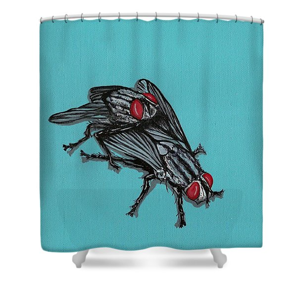 Flies Shower Curtain by Jude Labuszewski