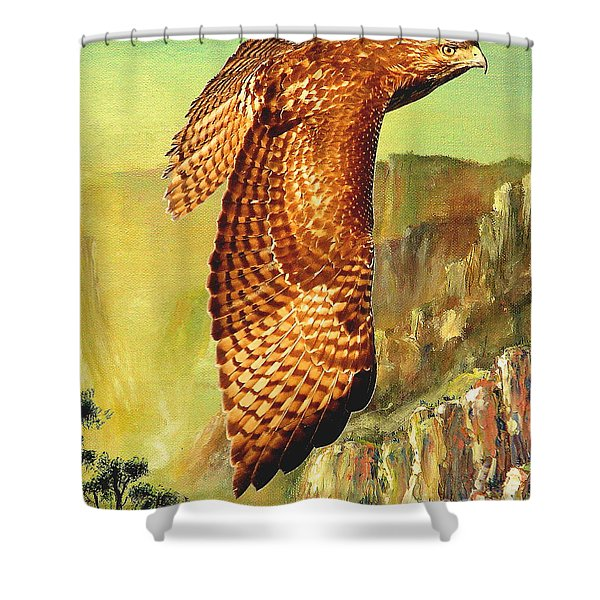 Flight Of The Red Tailed Hawk Shower Curtain by Wingsdomain Art and Photography