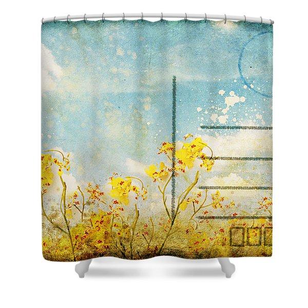 floral in blue sky postcard Shower Curtain by Setsiri Silapasuwanchai