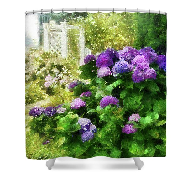 Flower - Hydrangea - Lovely Hydrangea  Shower Curtain by Mike Savad