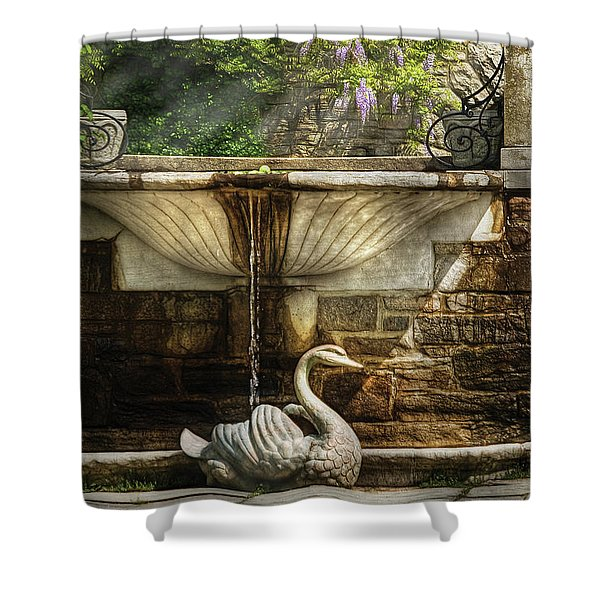 Flower - Wisteria - Fountain Shower Curtain by Mike Savad