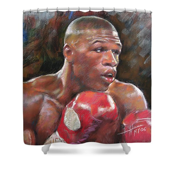 Floyd Mayweather Jr Shower Curtain by Ylli Haruni