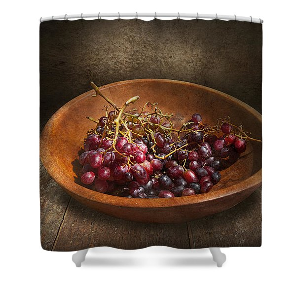 Food - Grapes - A bowl of grapes  Shower Curtain by Mike Savad