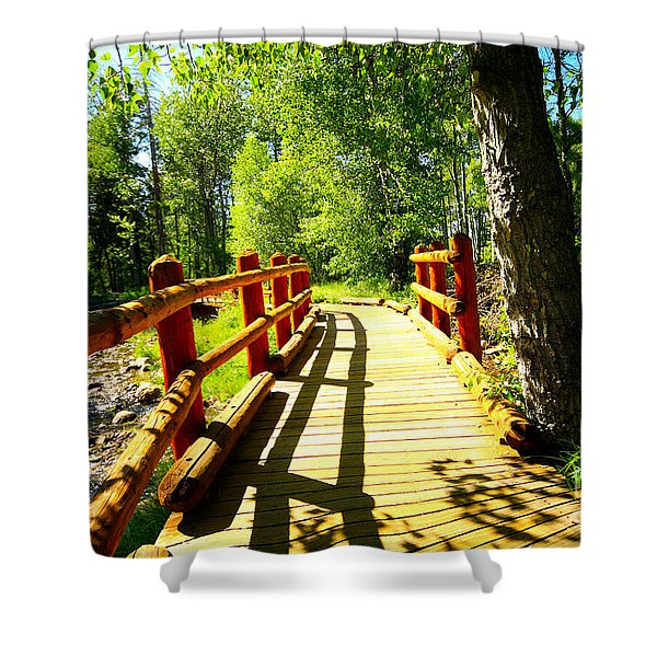 Foot Bridge Shower Curtain by Cheryl Young