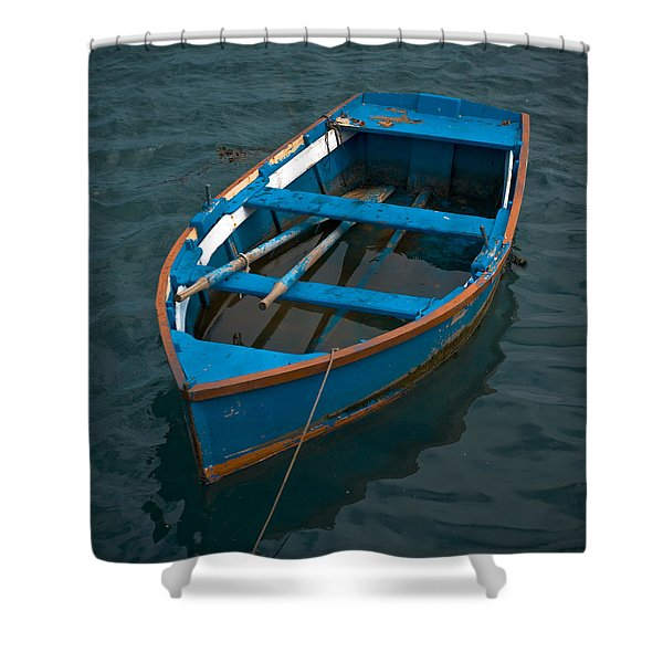 - Forgotten Little Blue Boat Shower Curtain by Frank Tschakert