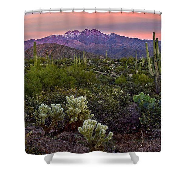 Four Peaks Sunset Shower Curtain by Dave Dilli
