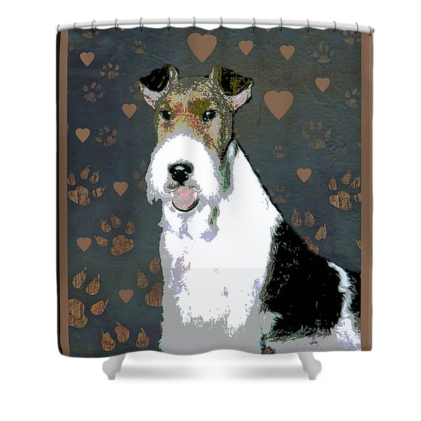 Fox Terrier Wire Shower Curtain by One Rude Dawg Orcutt