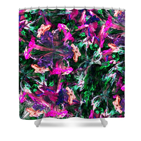 Fractal Floral Riot Shower Curtain by David Lane