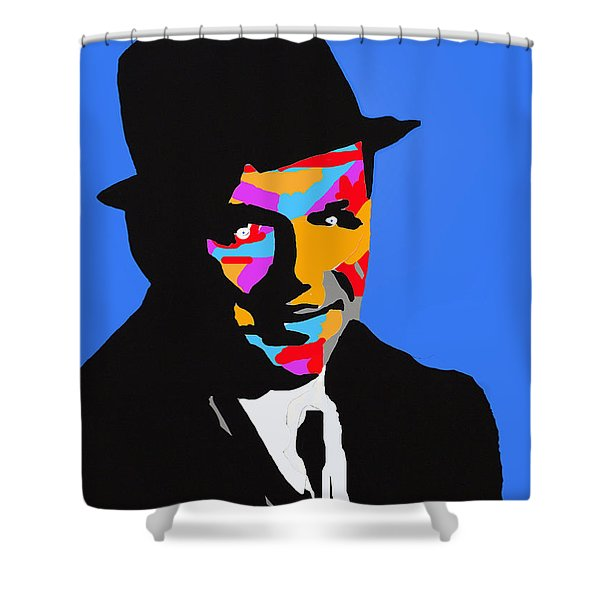 Frank Feeling Blue Shower Curtain by Robert Margetts