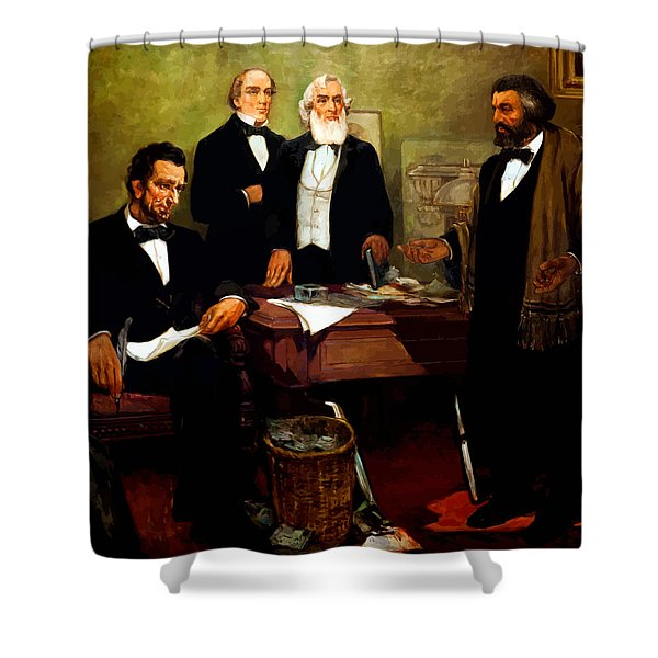 Frederick Douglass appealing to President Lincoln Shower Curtain by War Is Hell Store