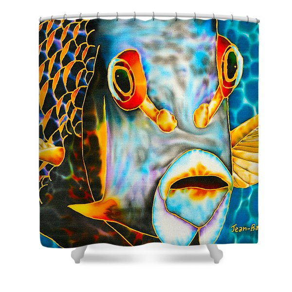 French Angelfish Face Shower Curtain by Daniel Jean-Baptiste