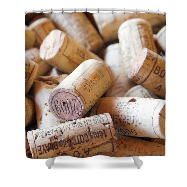 French Wine Corks Shower Curtain by Nomad Art And  Design