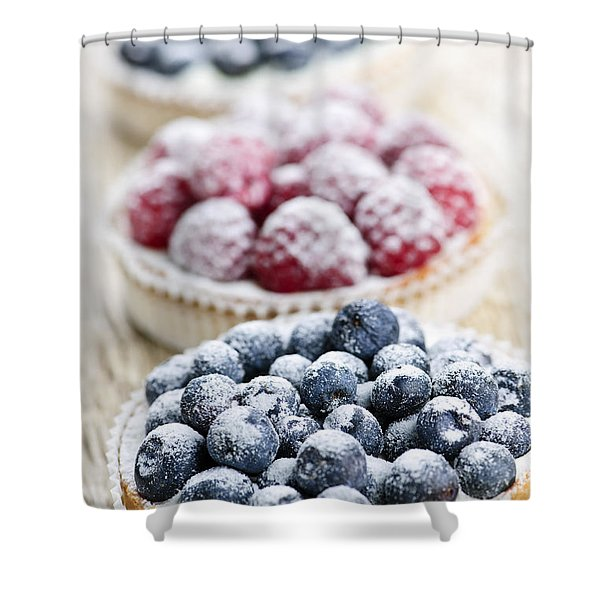 Fresh berry tarts Shower Curtain by Elena Elisseeva