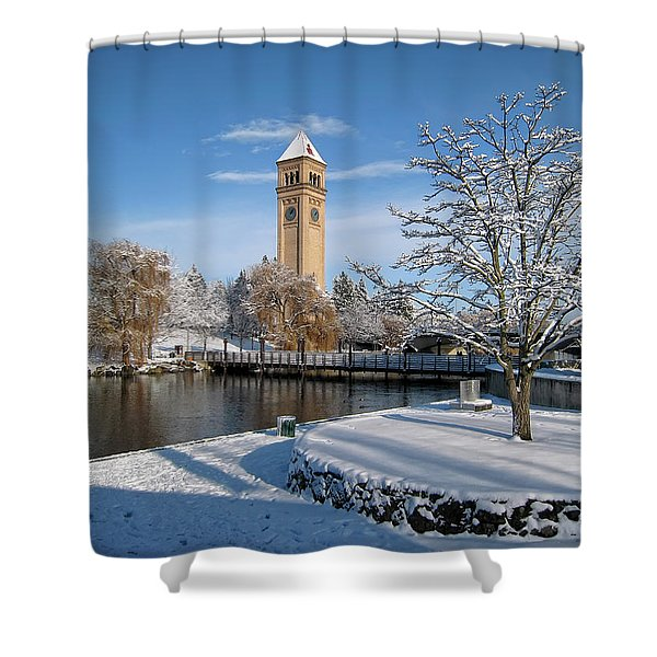 FRESH SNOW in RIVERFRONT PARK - SPOKANE WASHINGTON Shower Curtain by Daniel Hagerman