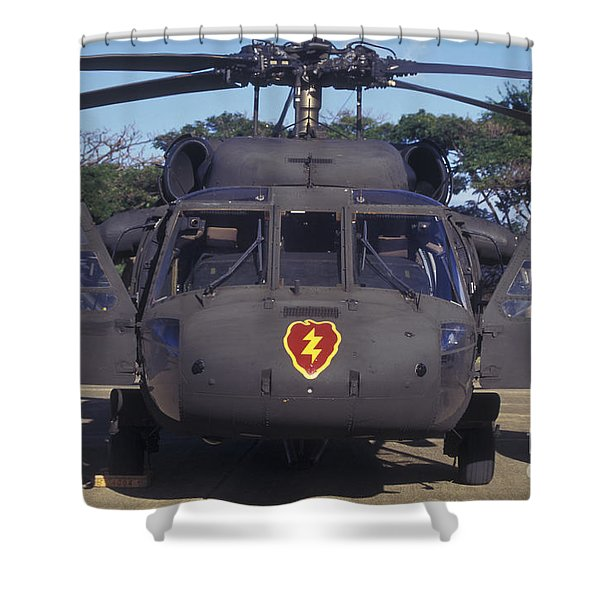 Front View Of An Army Hh-60 Pave Hawk Shower Curtain by Michael Wood