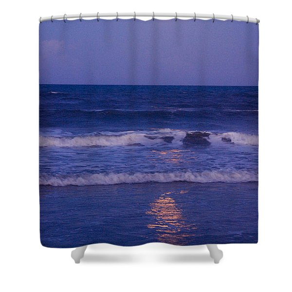 Full Moon Over The Ocean Shower Curtain by Susanne Van Hulst