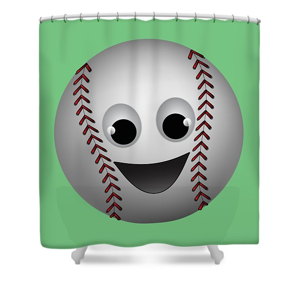Fun Baseball Character Shower Curtain by MM Anderson