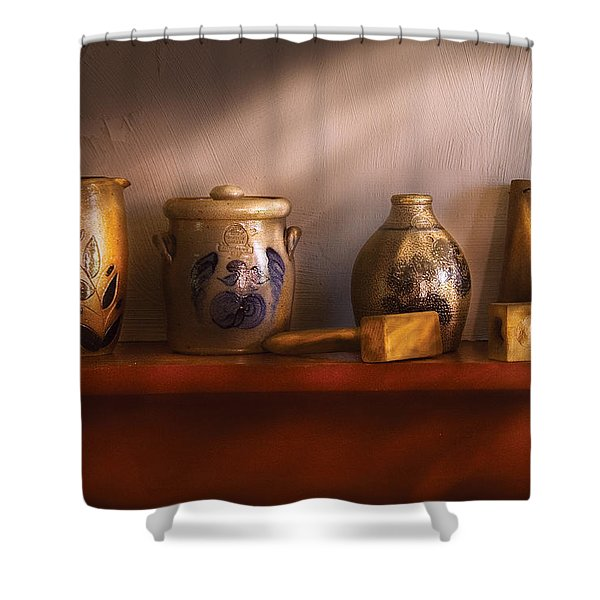 Furniture - Shelf - Family Heirlooms  Shower Curtain by Mike Savad