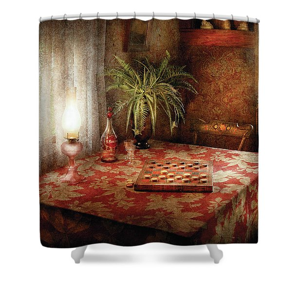Game - Checkers - Checkers Anyone Shower Curtain by Mike Savad