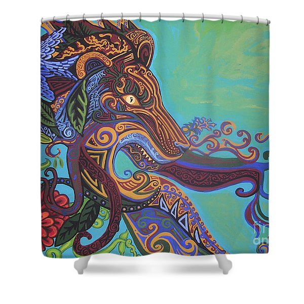 Gargoyle Lion Shower Curtain by Genevieve Esson