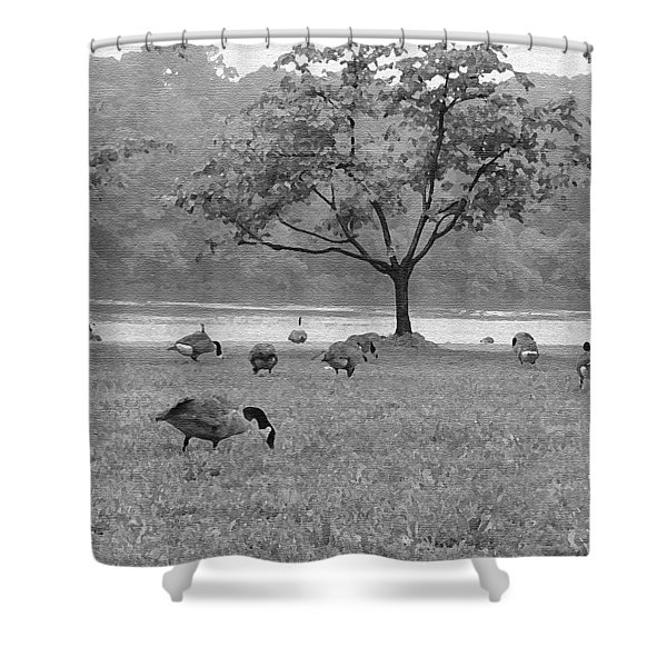 Geese on a Rainy Day Shower Curtain by Bill Cannon