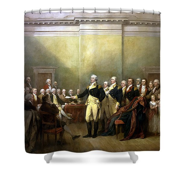 General Washington Resigning His Commission Shower Curtain by War Is Hell Store