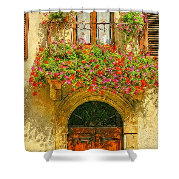 Gerani Coloriti Shower Curtain by Dominic Piperata