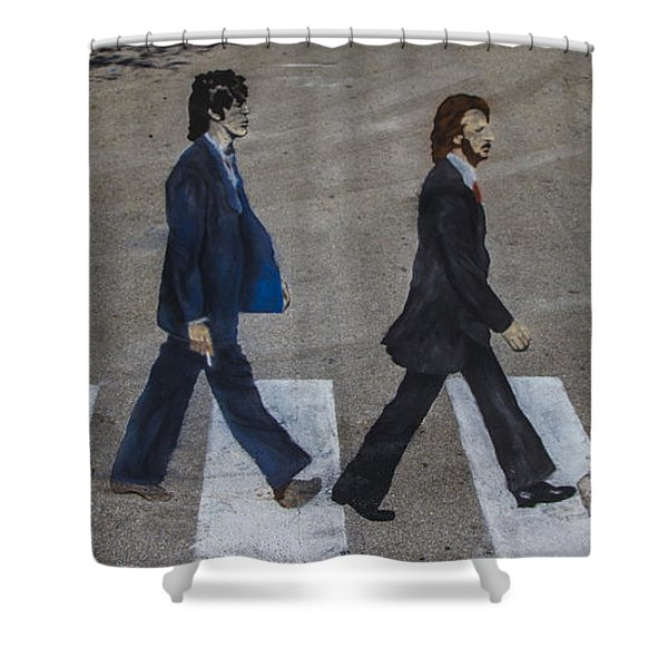 Ghosts of Abby Road Shower Curtain by Debra and Dave Vanderlaan