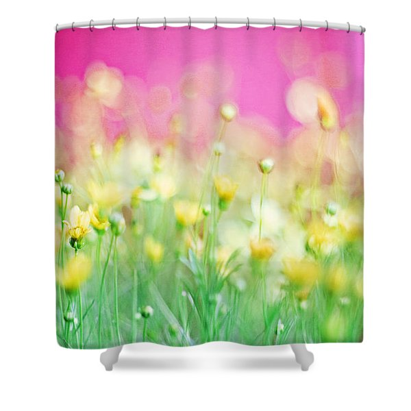 Giddy In Pink Shower Curtain by Amy Tyler