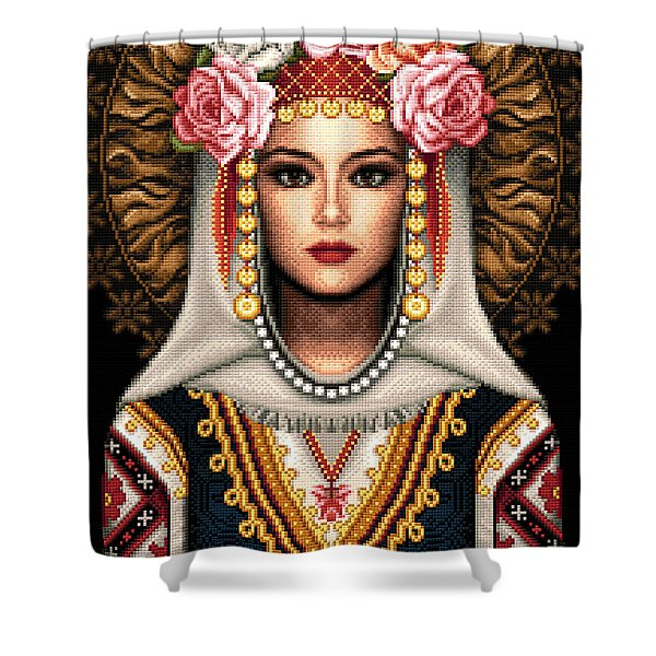 Girl In Bulgarian National Costume Shower Curtain by Stoyanka Ivanova