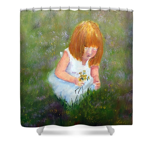 Girl In The Meadow Shower Curtain by Loretta Luglio