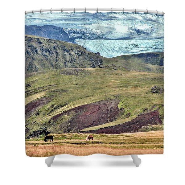 Glacier mountains meadows horses Shower Curtain by David Halperin