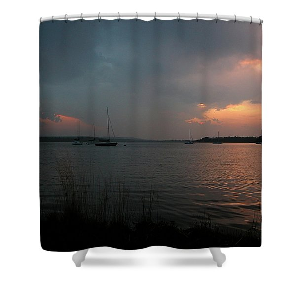 Glenmore reservoir - Sunset 3 Shower Curtain by Stuart Turnbull