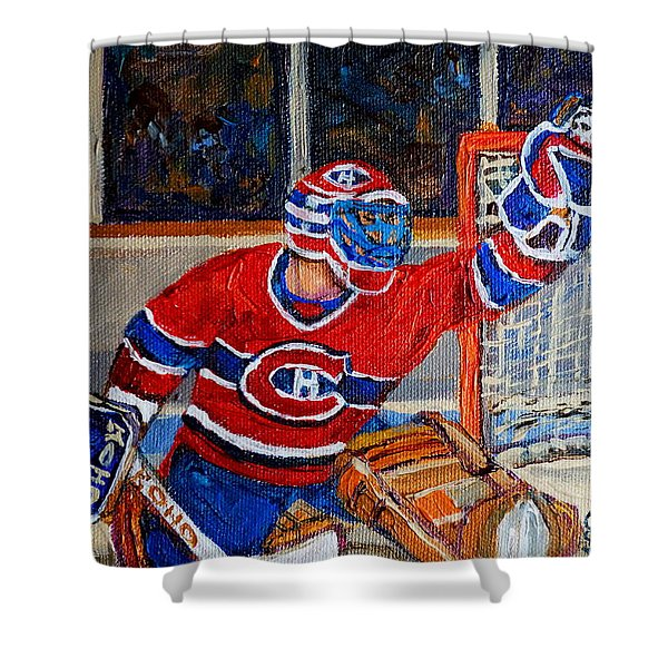 Goalie Makes The Save Stanley Cup Playoffs Shower Curtain by Carole Spandau