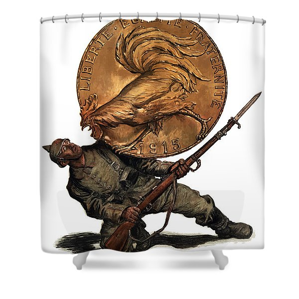 Gold Fights For Victory Shower Curtain by War Is Hell Store
