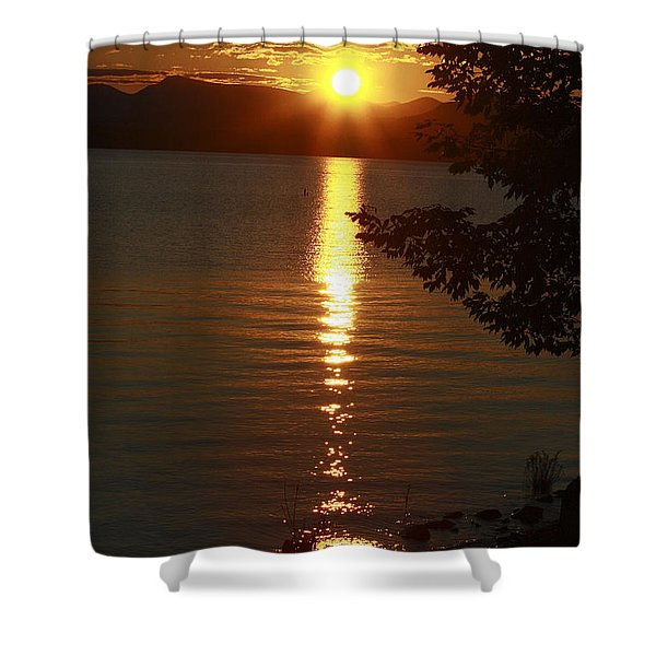 Golden Evening Sun Rays Shower Curtain by Deborah Benoit