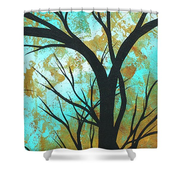 Golden Fascination 4 Shower Curtain by Megan Duncanson
