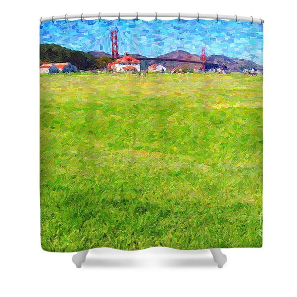 Golden Gate Bridge Viewed From Crissy Fields Shower Curtain by Wingsdomain Art and Photography