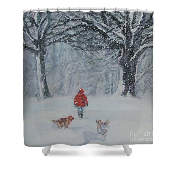 Golden Retriever Winter Walk Shower Curtain by Lee Ann Shepard