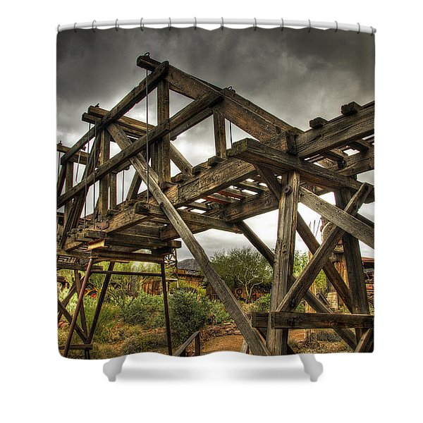 Goldfield Ghost Town - The Bridge Shower Curtain by Saija  Lehtonen