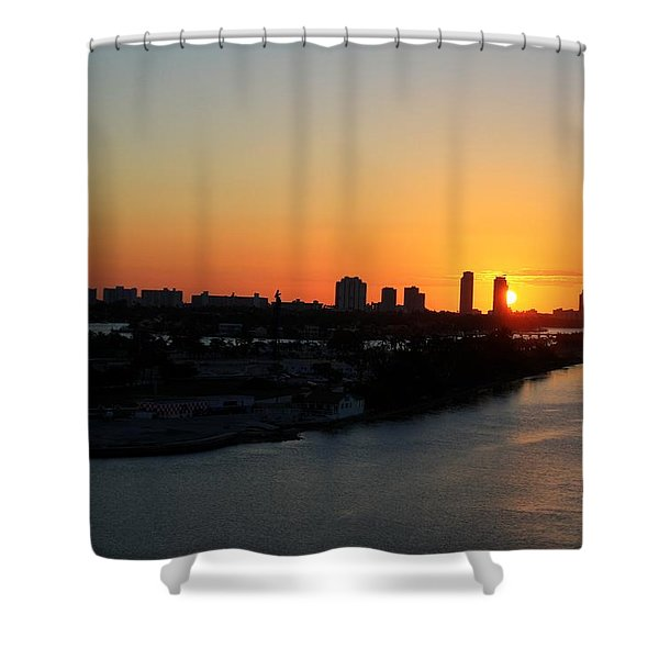 Good Morning Miami Shower Curtain by Shelley Neff
