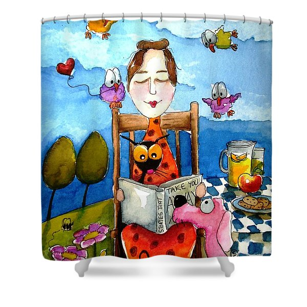 Grandma's Story Time Shower Curtain by Lucia Stewart
