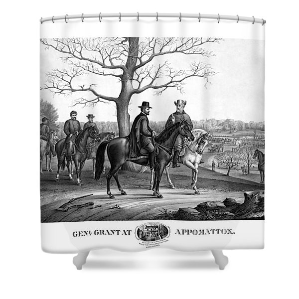 Grant And Lee At Appomattox Shower Curtain by War Is Hell Store