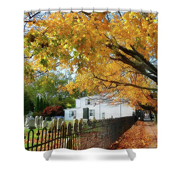 Graveyard In Autumn Shower Curtain by Susan Savad