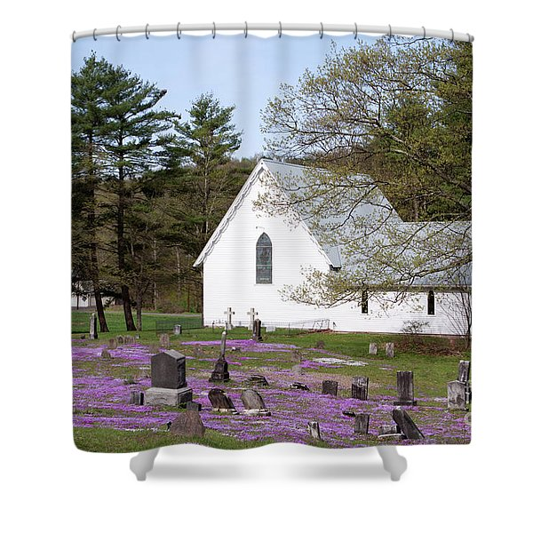 Graveyard Phlox Country Church Shower Curtain by John Stephens