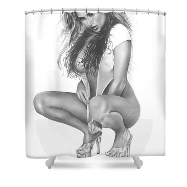 Gray Fox Shower Curtain by Pete Tapang