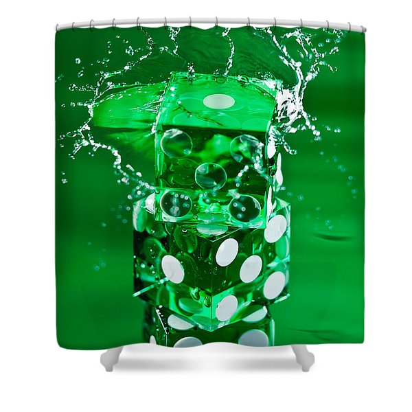 Green Dice Splash Shower Curtain by Steve Gadomski