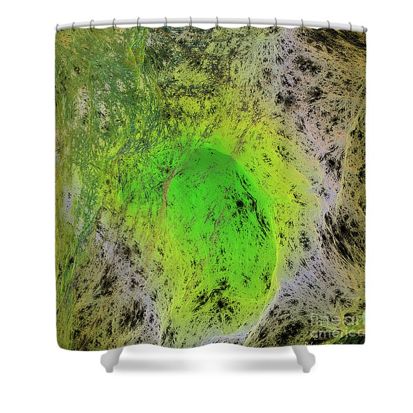 Green On Center Stage Shower Curtain by Deborah Benoit