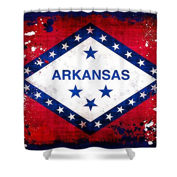 Grunge Style Arkansas Flag Shower Curtain by David G Paul